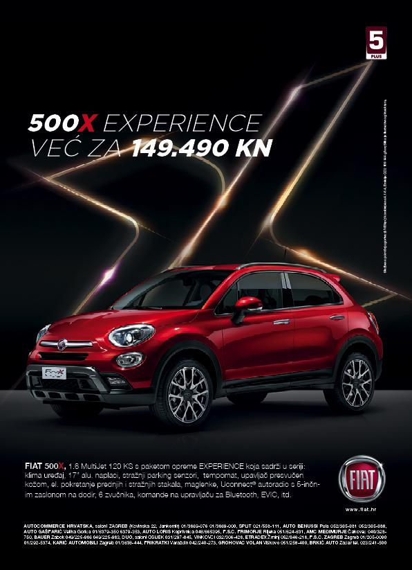 Novi Fiat 500 X 1,6 Multijet  (120KS)  Experience već za 149.490,00 kn !